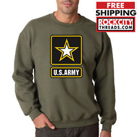 ARMY LOGO MILITARY GREEN CREW NECK Sweatshirt United States Usarmy Ranger US USA
