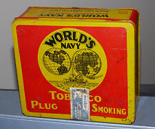 Antique Quebec, Canada 'Rock City' WORLD'S NAVY tobacco tin can FREE SHIP!