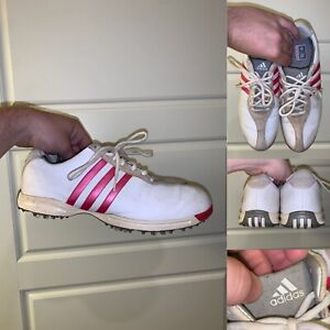 Adidas Golf Shoes Womens Size 10 White Pink FitFoam Lace Up Logo Leather Comfort