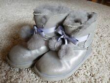 Uggs Gita Metallic Silver Pom Pom Girls Size 3 fur sparkly glitter EUC gray boot