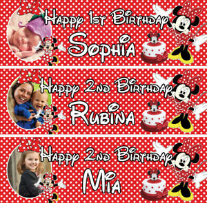 2 x personalised Minnie Mouse birthday banner photo girls children party deco