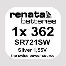 sr721sw ag11 1,55v Silver Oxide New 1x Renata 362 Watch Battery Button Cell