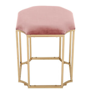 Pink Velvet Dressing Table Chair Vanity Table Stool Bedroom Makeup Dresser Seat