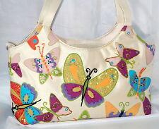 Beaded Purse Handbag Bueno Butterflies and Sequins Tote Shoulder Bag Purple Blue