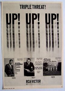 SAM COOKE FLOYD CRAMER THE TOKENS 1963 vintage POSTER ADVERT TRIPLE THREAT