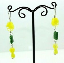 "GREEN & YELLOW Czech Glass Bead DANGLE EARRINGS Silver-tone wire 2-75"" Long"