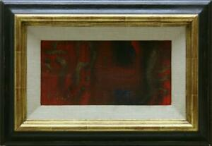 UNLESERLICH signiert / Ölgemälde auf Leinwand/Karton / 14cm * 28cm abstrakt
