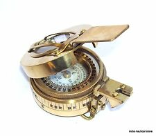 3'' Military British Prismatic Compass Antique Solid Brass Vintage Finish