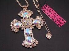 Betsey Johnson Necklace Mosaic Gold Cross Clear Stones Religious