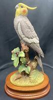 Cockatiel Parrot Porcelain Figurine Andrea By Sadek w wood Display Base #6014