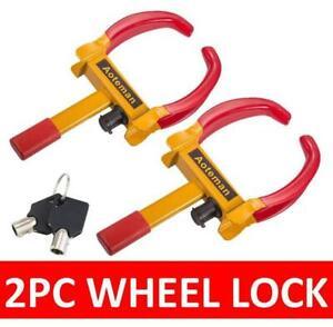 2X WHEEL CLAMP HEAVY DUTY ANTI THEFT LOCK CARAVAN TRAILER SECURITY CAR VAN + KEY