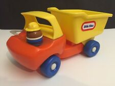Vintage Little Tikes Dump Truck With Driver Chunky Little People Yellow Orange