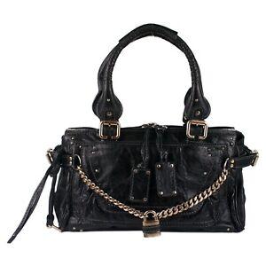 100% Authentic Chloe Black Distressed Leather Capsule Paddington Satchel Bag