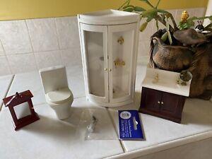 Dolls House Modern Bathroom Set sink Shower Cubicle Toilet Accessories 1.12