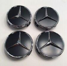 4 pcs, Wheel Center, Hub Caps, Paint Matte Black, 75 mm / 3 in, Mercedes Benz