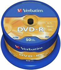Verbatim DVD-R 4.7GB 16x Speed 120min Recordable DVD Disc Spindle Pack 50