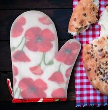 Heat Resistant Small Silicone Rubber Oven Mitt Textured Red Poppy Flowers Gloves