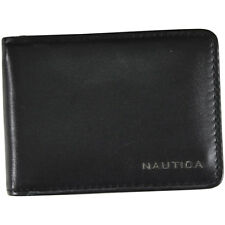 Nautica Men's Slim Zip Around Genuine Black Leather Wallet