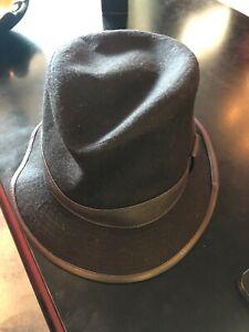 Hermes black cashmere leather Trimmed hat 58 unisex