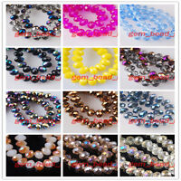 Faceted Glass Crystal Jewelry DIY Findings Rondelle Loose Beads 6x8mm 100pcs