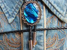 NEW  BLUE ABALONE  BOLO BOOTLACE TIE ANTIQUE SILVER METAL LEATHER CORD WESTERN