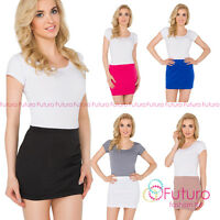 Womens Pencil Mini Skirt Stretchy Summer Elasticated Bodycon Sizes 8-22 PA11