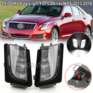 LED DRL Fog Light For Cadillac ATS 2013-2016 Bumper Daytime Running Driving Lamp