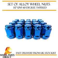 """Alloy Wheel Nuts Blue (16) 1/2"""" UNF Tapered for TVR Tuscan 1969-2006"""