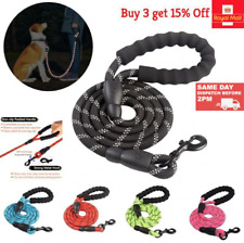 More details for  dog lead rope leash large leads nylon padded soft walking reflective braided5ft