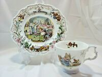 "Vintage 1987 Royal Doulton The Birthday Tea Cup and 8"" Bramby Hedge Plate 2nd Ed"