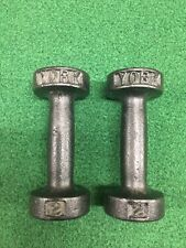 PAIR VINTAGE YORK BARBELL DUMBBELLS 2 X 2LB POUNDS ROUNDHEAD PRE USA STAMP