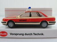 """Rietze/Audi Audi 100 quattro 2.8 E Limousine (1990) """"NOTARZT"""" 1:87/H0 NEU/OVP"""