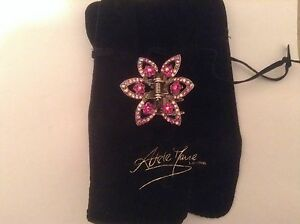 Sparkly Pink Crystal Hair Comb Clip Grip by Adele Marie - Flower