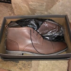 Stacy Adams Mens 13 Burgess Pointed Toe Ankle Chukka Boots, Cognac Brown Lace Up