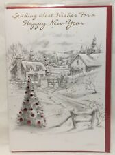 new year card sending best wishes for a happy new year embossed greeting cards