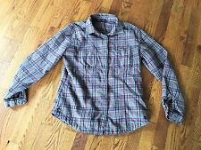 Woolrich Womens Gray Black Red Orange Plaid Flannel Shirt Size Small