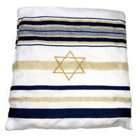 """Kosher Tallit Prayer Shawl Talit Dark Blue & Gold Stripes w/ Talis Bag 72"""" x 22"""""""