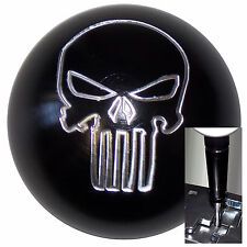 Black Alum Punisher Skull knob w/ black adapter for automatic shifters See desc.