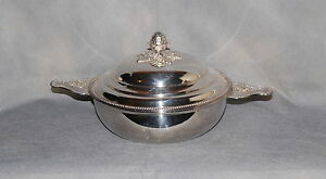 French Silverplate Ecuelle Covered Serving Bowl Beaded Musical Trophy Handles