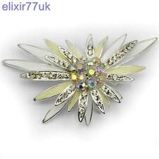 "3"" Large Silver Flower Star Diamante Crystal Brooch Modern Party Broach UK"