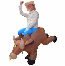 ADULT MENS INFLATABLE BULL RIDER FANCY DRESS COWBOY COSTUME RODEO OUTFIT