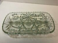 Vintage Clear Patterned Glass Candy Relish Divided Dish - Used, Good