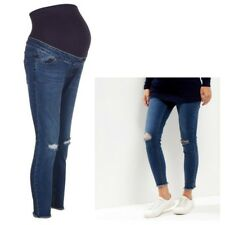 Maternity New Look Over Bump Busted Ripped Knee Frayed Hem Jeans Sizes 8 - 18