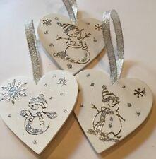3 X Snowman Christmas Decorations Handmade Shabby Chic Wood Silver