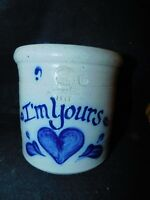 "ROWE POTTERY WORKS SALT GLAZED I'M YOURS CROCK 5 1/2"" TALL heart motif"