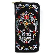 Loungefly Floral Sugar Skull Emo Punk Goth Rocker Zip Around Wallet LFWA0476