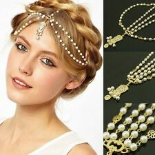 Celebrity BOHO Style Metal Pearl Chain Head Jewelry Headband Headpiece Hair Band