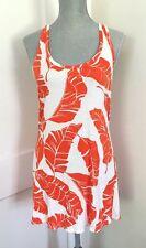 NWOT Rachel Pally Mini Dress Leaves White Orange Racerback Hawaiian XS S