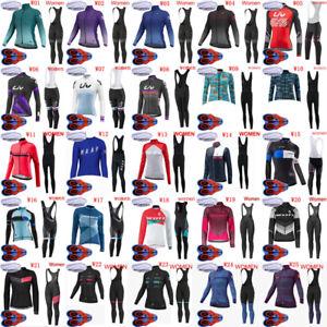 Womens Cycling Winter Thermal Fleece Jersey Long Sleeve Shirts 9D Pad Pants Set