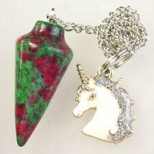 Ruby in Fuchsite Pendulum&Tibetan Silver Pave Crystal Horse Pendant Bead S28031